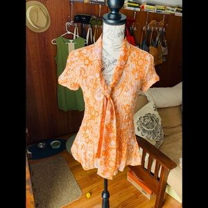 B. Moss Women's Orange Blouse with Cream Cardigan